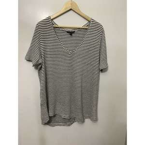 Banana Republic Black White Stripe V-Neck
